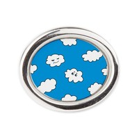 Blue Sky Funny Clouds Oval Ring