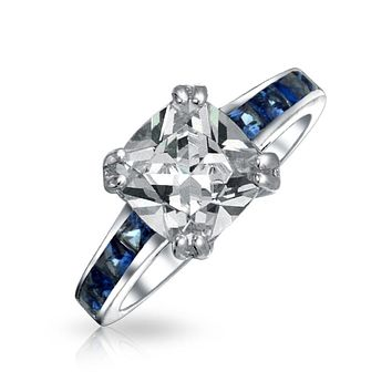 3CT Cushion Cut AAA CZ Engagement Ring Simulated Sapphire 925 Silver