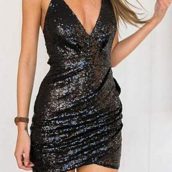 Black Plain Spaghetti Strap Sequin Irregular V-neck Bodycon Homecoming Party Ruched Mini Dress