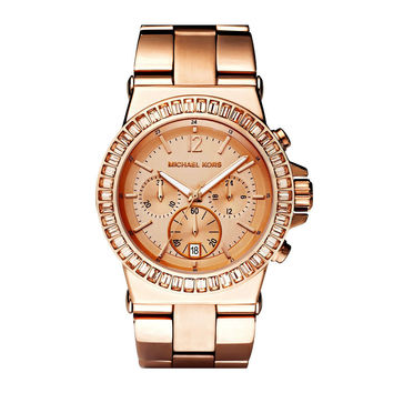 New Michael Kors Women Oversize Dylan Rose Gold Glitz Watch