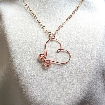 Copper Heart Necklace with tiny heart link by CreationsByJanetUSA