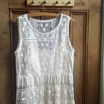 Boho festival clothing lace hippie dress ivory floral bohemian vintage clothes smock dresses summer womens sleeveless  Dolly Topsy Etsy UK
