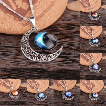 1pcs Galaxy Necklace Lovely Nebula Space Cabochon with Alloy Hollow Moon Pendant  Plated Chain Necklace