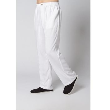 Sale White New Spring Chinese Men's Linen Kung Fu Trousers Size S M L XL XXL XXXL Free Shipping 2350-8
