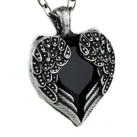 Black Stone Heart Necklace with Gothic Wings