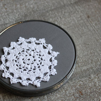 Shabby Chic Doily Art Gray And White Lace- Embroidery Hoop Wall Hanging Decor