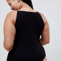 ASOS DESIGN Curve body with high square neck in rib in black at asos.com