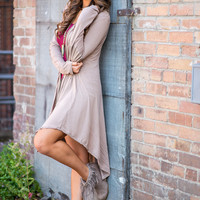 Waiting & Wishing Elbow Patch Zip Up Hi - Low Hooded Cardigan (Taupe)