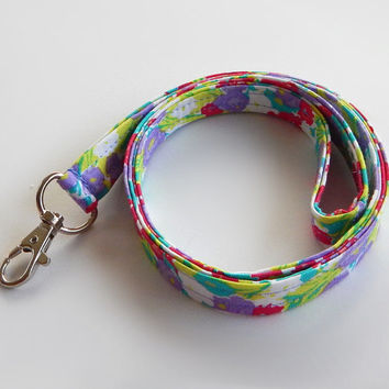 Floral Lanyard / Flower Keychain / Colorful Floral Print / Key Lanyard / ID Badge Holder / Flowers / Pretty Lanyard / Lavender / Hot Pink