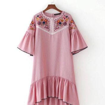 Europe and the United States fashion embroidered stripe dress