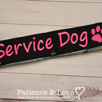 1 SERVICE DOG with cute Paw Leash Sleeve, Snap-On