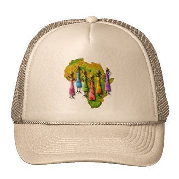 African Women In Colorful Dresses On Africa Map Trucker Hat