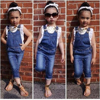 2015 cute girls denim clothing set Kids 2-Pieces clothing Sets cotton t shirt +suspender pants