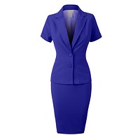 Fitted Blazer and Skirt Suit Set (CLEARANCE) (CLEARANCE)