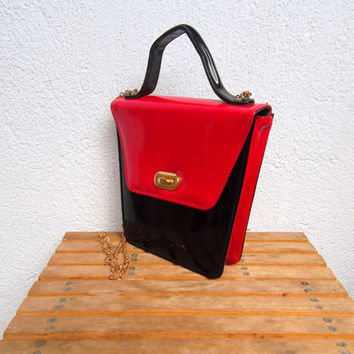 Black Patent Clutch, Red Vinyl Purse with Gold Chain Strap, Small Satchel, Vegan Handbag, Party Crossbody Bag, Laminated Purse, Glam Rock