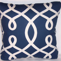 "Navy Blue White Loops Throw Pillow Nautical Decor 17"" Square Cotton Ready to Ship Insert Included"