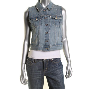 Levi Strauss & Co. Womens Studded Sleeveless Casual Vest