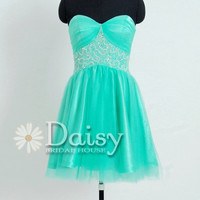2013 Mint Short Prom Dress with Jeweled Waist Sweetheart Homecoming Dress Evening Cocktail Dress Mint Prom Dress(PR0695021)