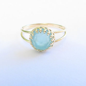 Gold opal ring, gold ring with pacific opal stone, stackable ring,  vintage ring, bridal jewelry