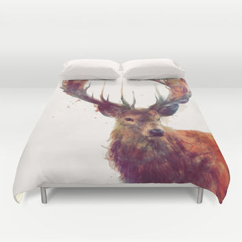 Red Deer // Stag Duvet Cover by Amy Hamilton