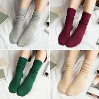 10 colors harajuku Long Socks Women Winter Solid Cotton Socks casual Loose Socks Warm Christmas Socks gift black white green