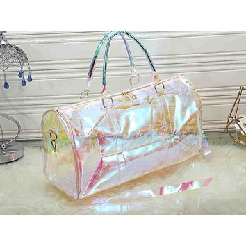 LV Fashion Printed Transparent Luggage Bags for Men and Women
