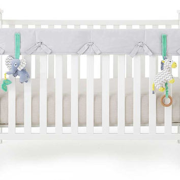 Gray Organic Crib Rail Cover - Narrow Rail