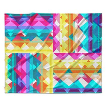 "Miranda Mol ""Triangle Checker"" Pastel Rainbow Fleece Throw Blanket"