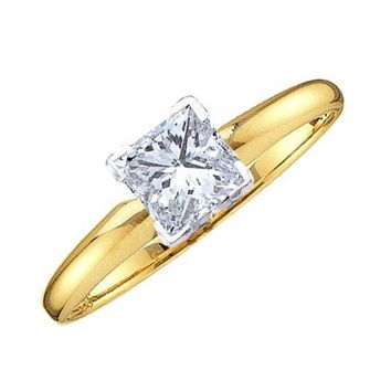 Ladies 14k Yellow Gold 0.20ct Princess Cut Diamond Solitaire Engagement Ring