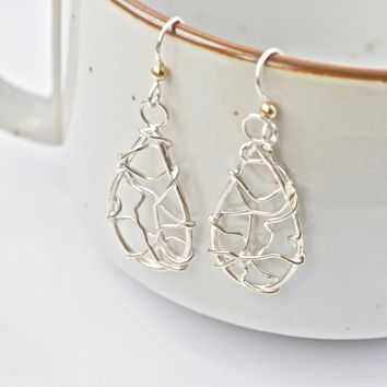 Unique Silver Earrings, Original Handmade Jewelry, Dreamcatcher Earrings, Woven Silver