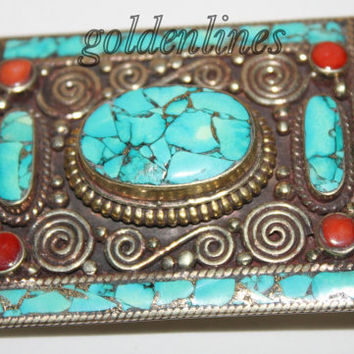 Turquoise belt buckle, gypsy Belt buckle, bohemian belt buckle, lapis coral belt buckle, country belt buckle, southwesten best buckle  BK2