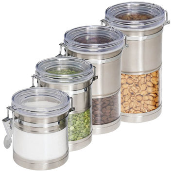 Honey-can-do Stainless Steel & Acrylic Canisters 4 Pk