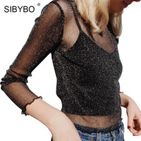 SIBYBO Black Glitter Mesh Long Sleeve T Shirt Women Tops 2017 Spring Hollow Out Party Club Casual Sexy Blusa Shine Tshirt