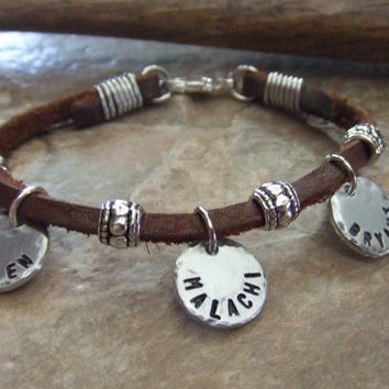 Personalized Mom Bracelet -Custom Handstamped Silver and Kodiak Leather - Medical ID Jewelry