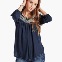 Lucky Brand Embroidered Bib Top Womens - American Navy