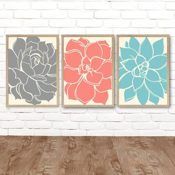 Gray Coral Aqua Wall Art, Succulent Artwork, Flower Wall Art CANVAS or Prints Gray Coral Aqua Bedroom Decor, Succulent Flower Art Set of 3