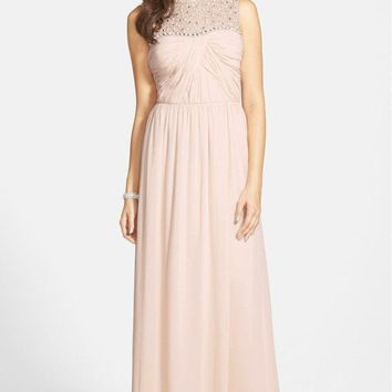 Adrianna Papell - Bejeweled Closed Neck Chiffon Gown 231M70230