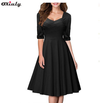 Oxiuly Women Elegant Pin Up Bow Ruched Tunic Business Half Sleeve Casual Wear To Work Party Stretch Bodycon A Line Skater Dress