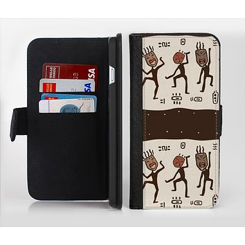 The Dancing Aztec Masked Cave-Men Ink-Fuzed Leather Folding Wallet Credit-Card Case for the Apple iPhone 6/6s, 6/6s Plus, 5/5s and 5c