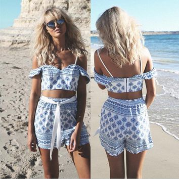 condole belt printing two piece outfit