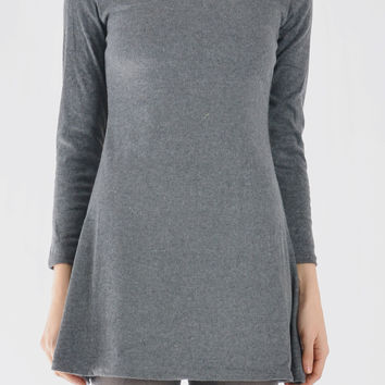 Long Sleeve Cotton Shirt Dress In Gray