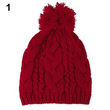 Fashion Winter Warm Women's Men's Knit  Beanie Ball Wool Cuff Hat  Cap 7ESK 7N9S