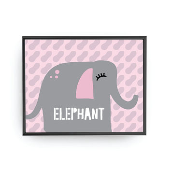 Elephant Typography, Educational Art, Baby Poster, Typography Poster, Classroom Decor, Nursery Art, Cute Animal, Kids Print, Children Poster