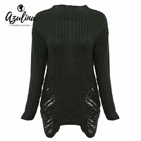 Womens Frayed Knitted Long Sleeve Warm Thick Long Ripped Sweaters Pullover Oversized Sweater