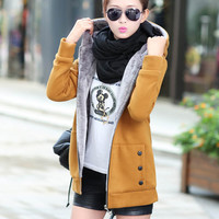 2016 New Fashion Women Spring Autumn Korean Wild Thick Velvet Hooded Coat Plus Size Casual Sweatshirt Women Top Q4609
