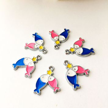 5 pcs tiny fish charms, fish necklace charm, fish star charm beads