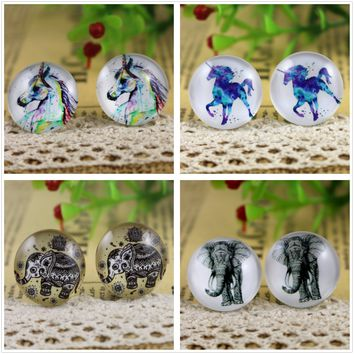 Hot Sale 10pcs 20mm Handmade Horse and elephant Photo Glass Cabochons Pattern Domed Jewelry Accessories Supplies