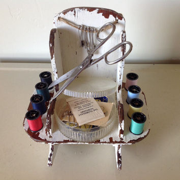 Vintage Sewing Caddy Shabby Chic Rocking Chair