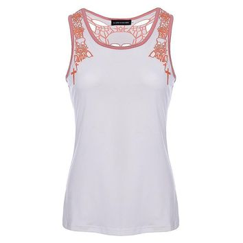 Sleeveless Women T-Shirts Casual O Neck Hollow Out Skull Printed