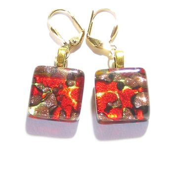 Venetian Fused Glass Red Copper Square Gold Earrings